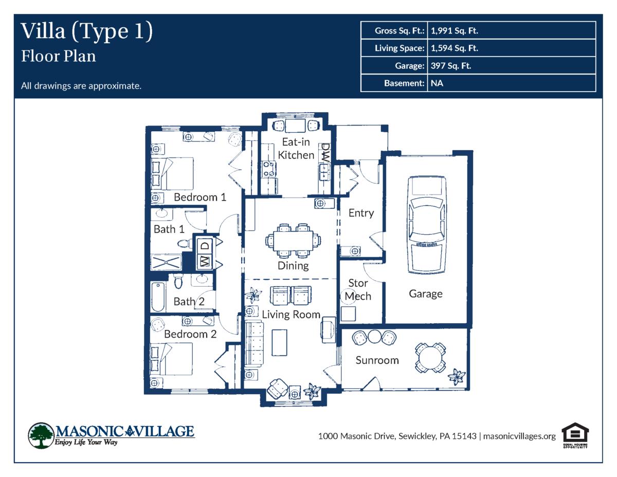 Masonic Village at Sewickley Villa Type 1 Floor Plan