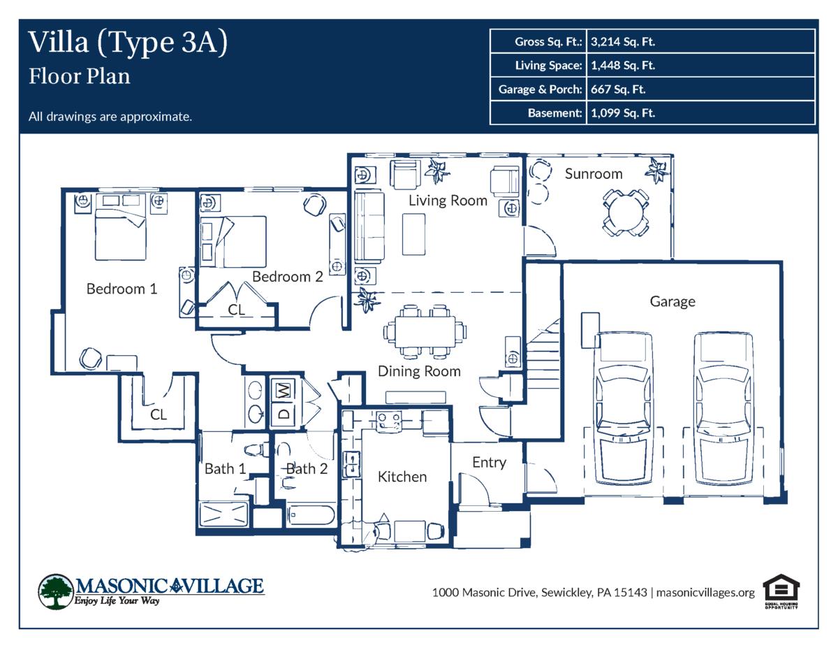 Masonic Village at Sewickley Villa Type 3A Floor Plan