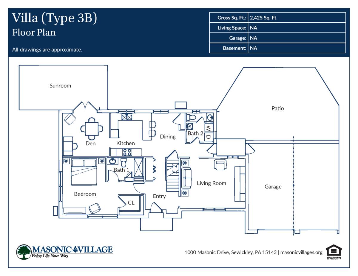 Masonic Village at Sewickley Villa Type 3B Floor Plan