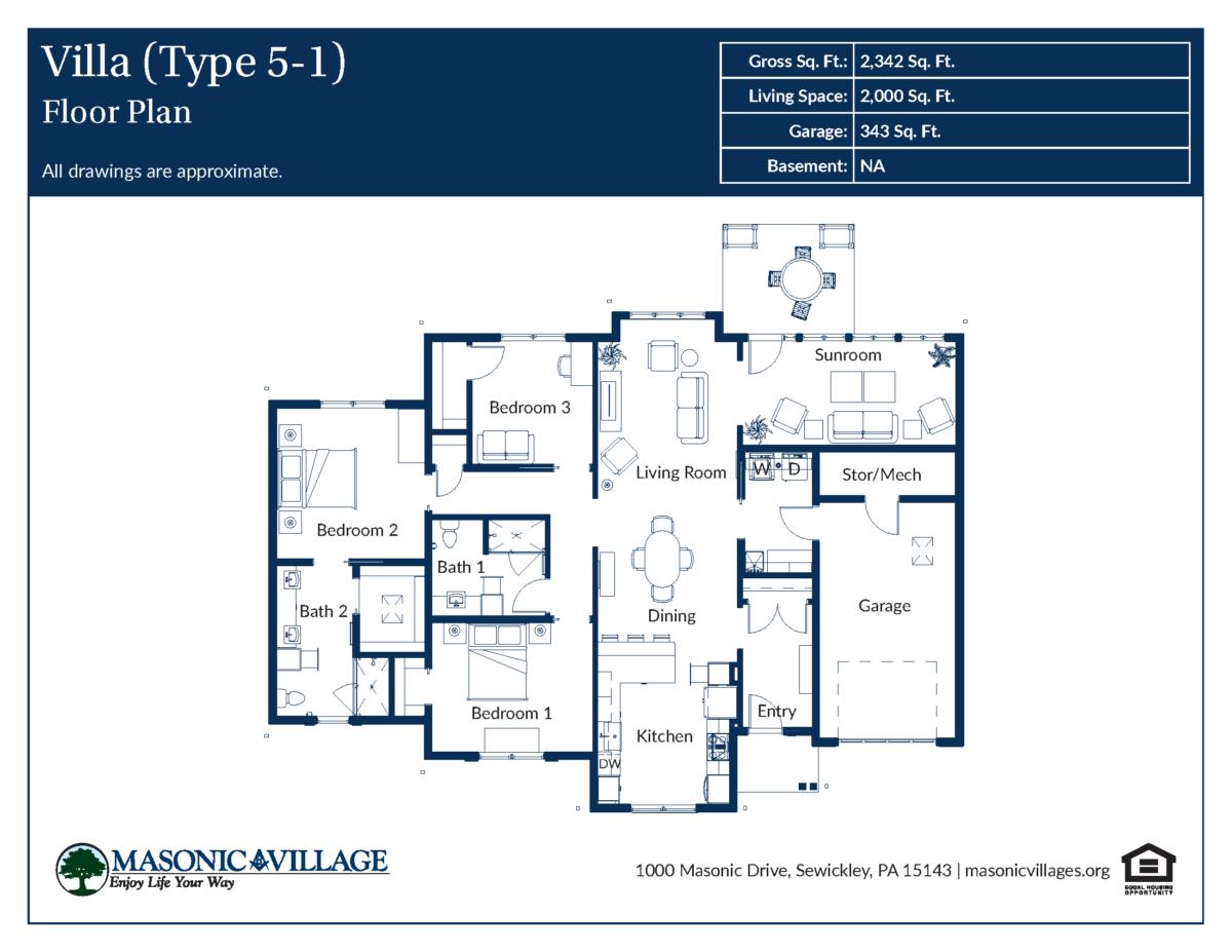 Masonic Village at Sewickley Villa Type 5-1 Floor Plan