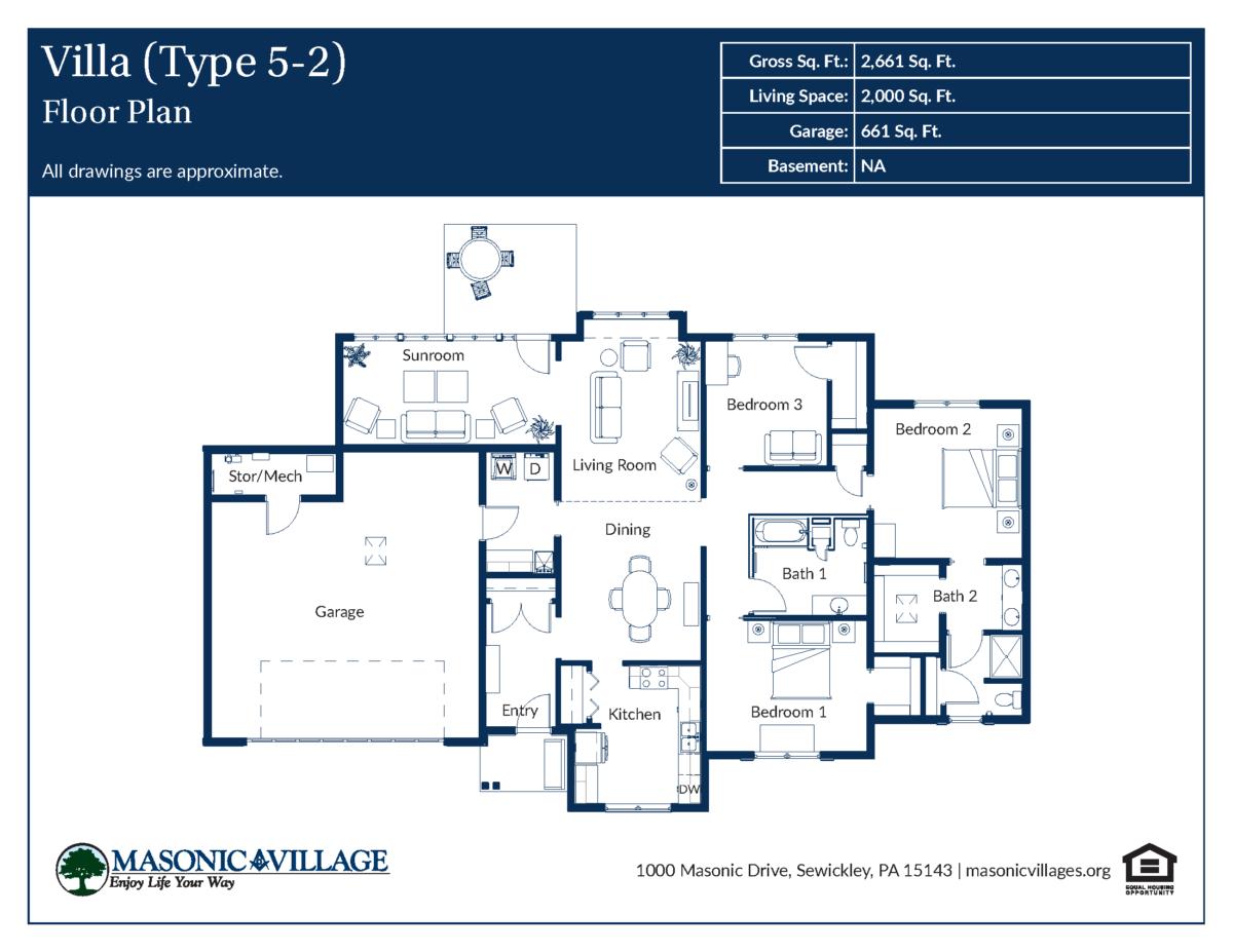 Masonic Village at Sewickley Villa Type 5-2 Floor Plan
